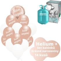 Helium sada - kruh růžovo-zlaté a  balónky s českým potiskem KRÁSNÉ NAROZENINY