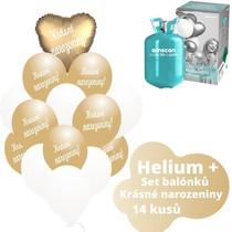 Helium sada - srdce zlatý a  balónky s českým potiskem KRÁSNÉ NAROZENINY