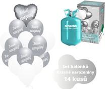 Helium sada - srdce  stříbrné a  balónky s českým potiskem KRÁSNÉ NAROZENINY