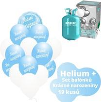 Helium sada - kruh světlemodrý a balónky s českým potiskem KRÁSNÉ NAROZENINY