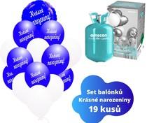 Helium sada - kruh tmavomodrý a balónky s českým potiskem KRÁSNÉ NAROZENINY