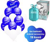 Helium sada - srdce tmavěmodré a balónky s českým potiskem KRÁSNÉ NAROZENINY