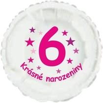 Krásné 6. narozeniny fóliový balónek kruh pro holky