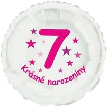 Krásné 7. narozeniny fóliový balónek kruh pro holky