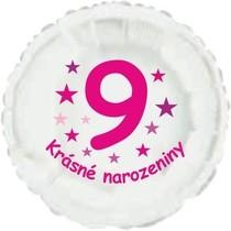 Krásné 9. narozeniny fóliový balónek kruh pro holky