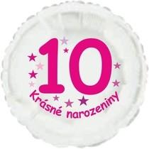 Krásné 10. narozeniny fóliový balónek kruh pro holky