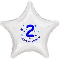 Krásné 2. narozeniny fóliový balónek hvězda pro kluky