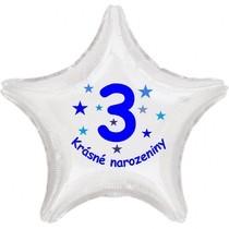 Krásné 3. narozeniny fóliový balónek hvězda pro kluky