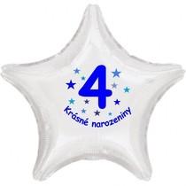 Krásné 4. narozeniny fóliový balónek hvězda pro kluky