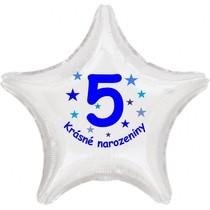 Krásné 5. narozeniny fóliový balónek hvězda pro kluky
