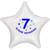 Krásné 7. narozeniny fóliový balónek hvězda pro kluky