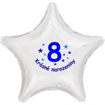 Krásné 8. narozeniny fóliový balónek hvězda pro kluky