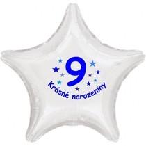Krásné 9. narozeniny fóliový balónek hvězda pro kluky