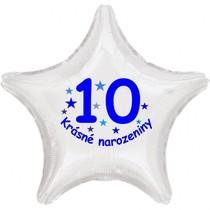 Krásné 10. narozeniny fóliový balónek hvězda pro kluky