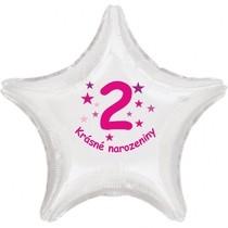 Krásné 2. narozeniny fóliový balónek hvězda pro holky