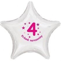 Krásné 4. narozeniny fóliový balónek hvězda pro holky