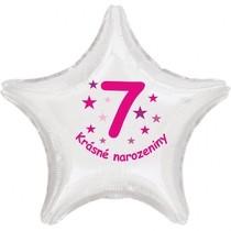 Krásné 7. narozeniny fóliový balónek hvězda pro holky