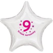 Krásné 9. narozeniny fóliový balónek hvězda pro holky