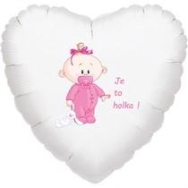 Balónek bílý fóliový srdíčko Je to holka!