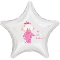 Balónek bílý fóliový hvězda Je to holka!