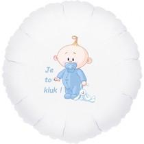 Balónek bílý fóliový kruh Je to kluk!