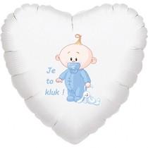 Balónek bílý fóliový srdíčko Je to kluk!