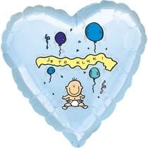 Balónek fóliový světle modré srdíčko Je to kluk!