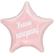 Fóliový balónek hvězda světle růžová Krásné narozeniny!
