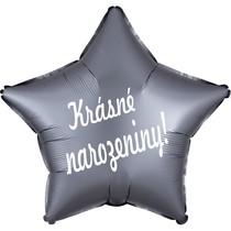 Balónek fóliový satén šedá hvězda Krásné narozeniny!