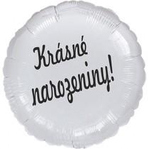 Balónek fóliový kruh bílý Krásné narozeniny!