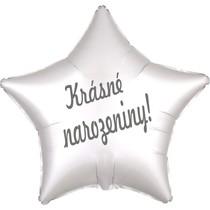 Balónek fóliový bílá hvězda saten Krásné narozeniny!