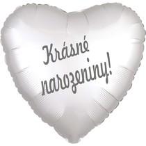 Balónek fóliový bílé srdíčko saten Krásné narozeniny!