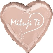 Balónek fóliový růžovo-zlaté srdíčko Miluji Tě