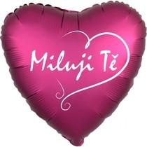 Balónek fóliový saten tmavě růžové srdíčko Miluji Tě