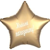 Balónek fóliová hvězda zlatá Krásné narozeniny!