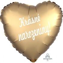 Balónek fóliové srdíčko zlaté Krásné narozeniny!