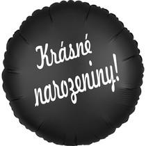 Balónek fóliový černý kruh Krásné narozeniny!