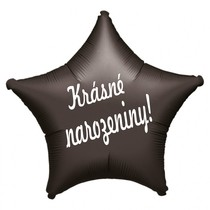 Balónek fóliový černá hvězda Krásné narozeniny!