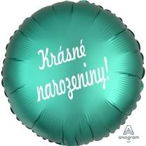 Balónek fóliový zelený kruh Krásné narozeniny!