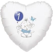 1.narozeniny modrý slon srdce foliový balónek