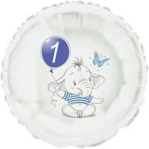 1.narozeniny modrý slon kruh foliový balónek