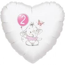 2.narozeniny růžový slon srdce foliový balónek