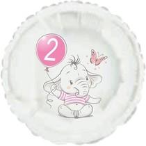 2.narozeniny růžový slon kruh foliový balónek
