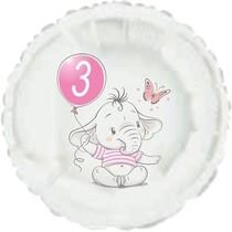 3.narozeniny růžový slon kruh foliový balónek