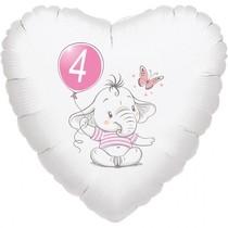 4.narozeniny růžový slon srdce foliový balónek