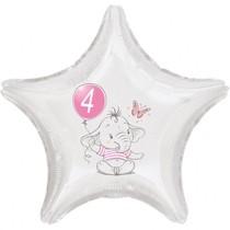 4.narozeniny růžový slon hvězda foliový balónek
