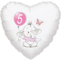5.narozeniny růžový slon srdce foliový balónek
