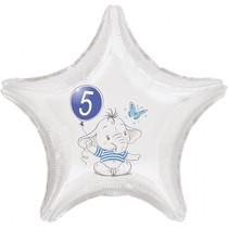 5.narozeniny modrý slon hvězda foliový balónek