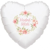 Svatební balónky - květinový věnec růžový Hodně štěstí