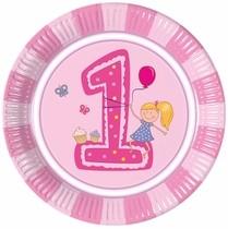 1. narozeniny holčičí talíře 8ks 8ks 23cm